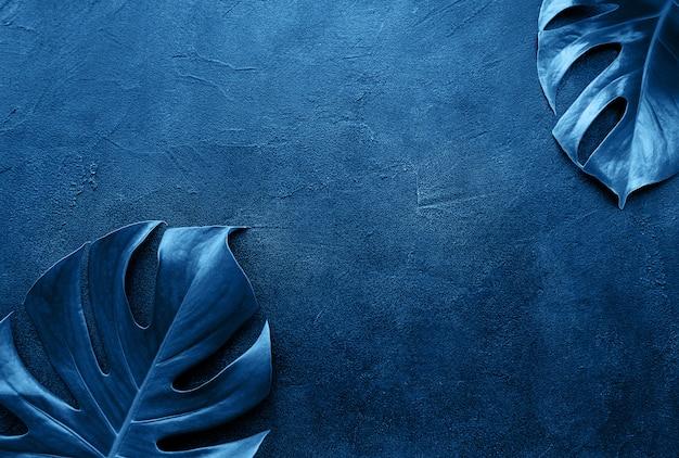 Tropische monsterabladeren in blauwe kleur