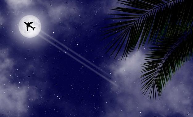 Tropische nachtbannerachtergrond met palmbladeren en en een vliegend vliegtuig