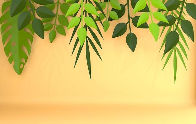 Tropische papier palm monstera verlaat frame renderen