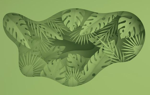Tropische papier palmbladeren frame renderen