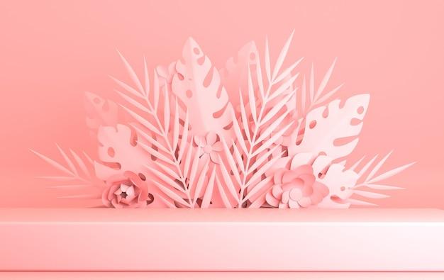 Tropische papieren palm monstera bladeren en bloemen frame podium platform voor productpresentatie