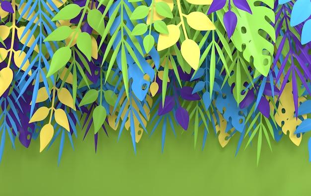 Tropische papieren palm monstera bladeren frame papier gesneden stijl 3d render