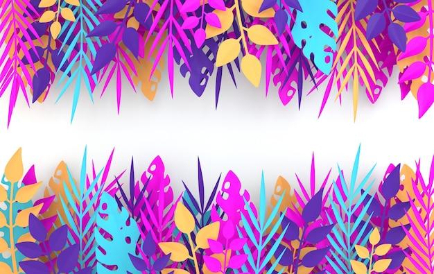 Tropische papieren palm monstera verlaat frame