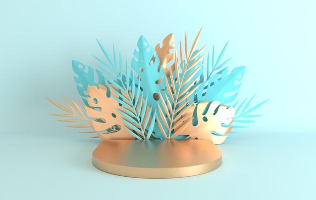 Tropische papieren palm, monsterabladeren en bloemenframe, podiumplatform voor productpresentatie.