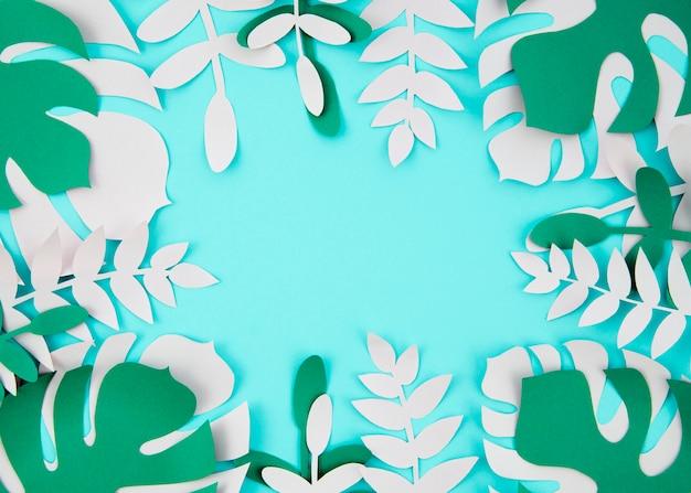 Tropische planten in de stijl van gesneden papier