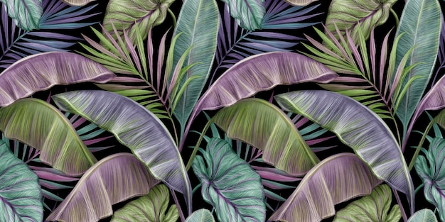 Tropische vintage naadloze patroon met kleurrijke bananenbladeren, palm, colocasia esculenta
