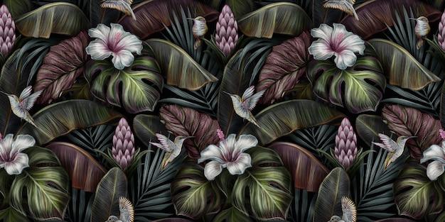 Tropische vintage naadloze patroon met vogels, monstera, hibiscus, protea bloemen, bananenbladeren, palm, colocasia