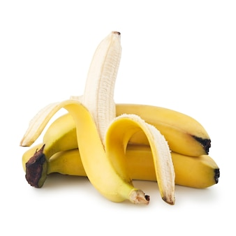 Tros bananen geïsoleerd op een witte achtergrond Premium Foto