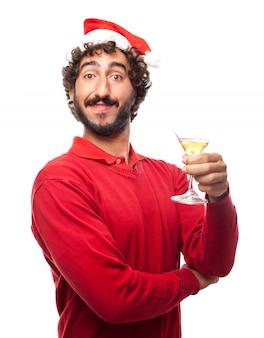 Trotse man met een glas champagne
