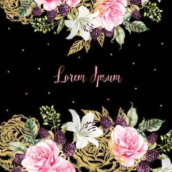 Trouwkaarten met gouden grafische en aquarel bloemen. roos, lelie en bessen. illustratie