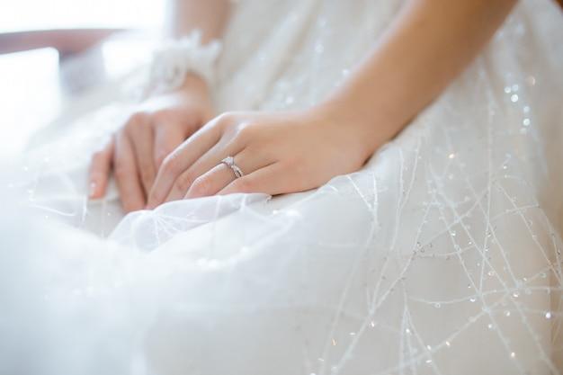 Trouwring in vinger van de bruid