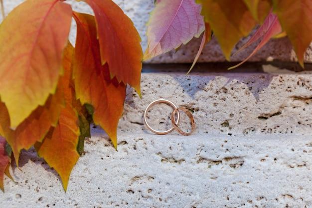 Trouwringen op witte steen in de buurt van rode bladeren, twee trouwringen in oneindigheidsteken. liefdesconcept.