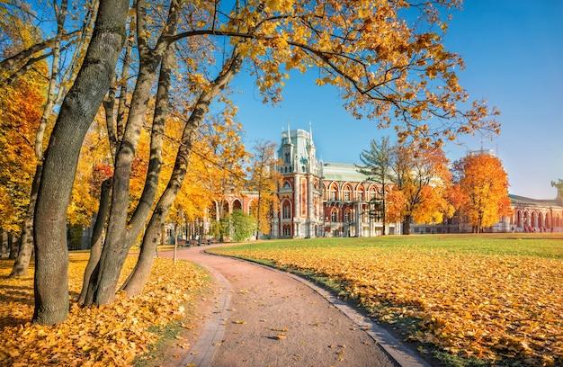 Tsaritsyno palace in moskou omringd door kleurrijke herfstbomen van het park in de ochtendzon
