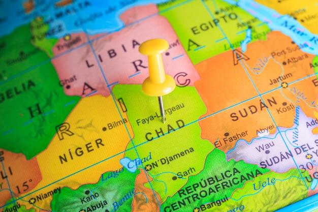 Tsjaad vastgemaakt op een kaart van afrika