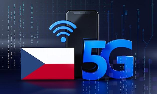 Tsjechië klaar voor 5g-verbindingsconcept. 3d-rendering smartphone technische achtergrond
