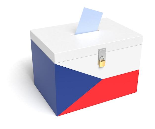 Tsjechische republiek stembus met tsjechische vlag. geïsoleerd op een witte achtergrond.
