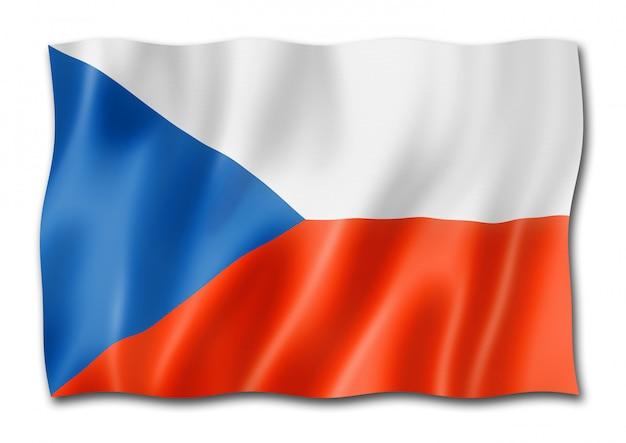 Tsjechische vlag op wit wordt geïsoleerd