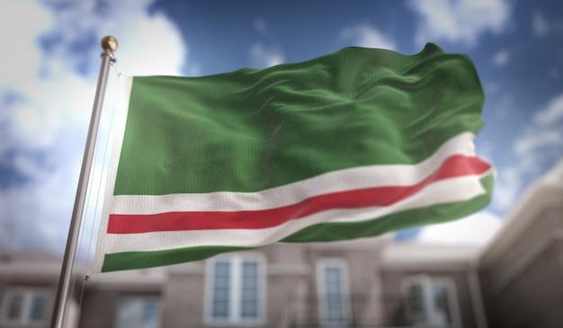 Tsjetsjeense republiek ichkeria vlag 3d-rendering op blauwe hemel gebouw achtergrond