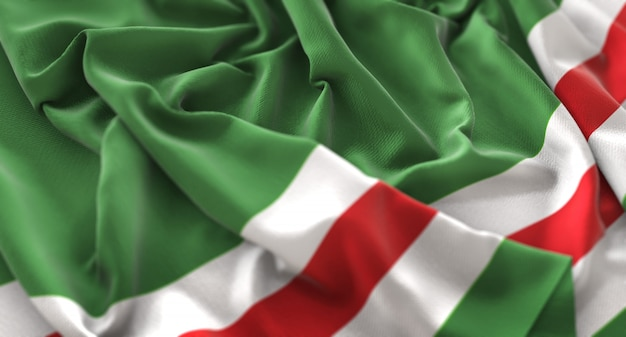 Tsjetsjeense republiek ichkeria vlag ruffled mooi wegende macro close-up shot