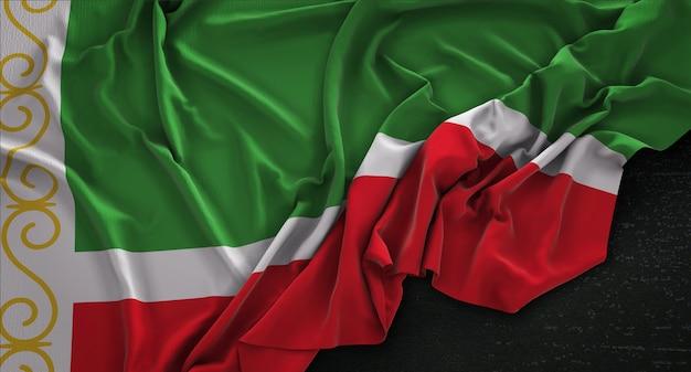 Tsjetsjeense republiek vlag gerimpelde op donkere achtergrond 3d render