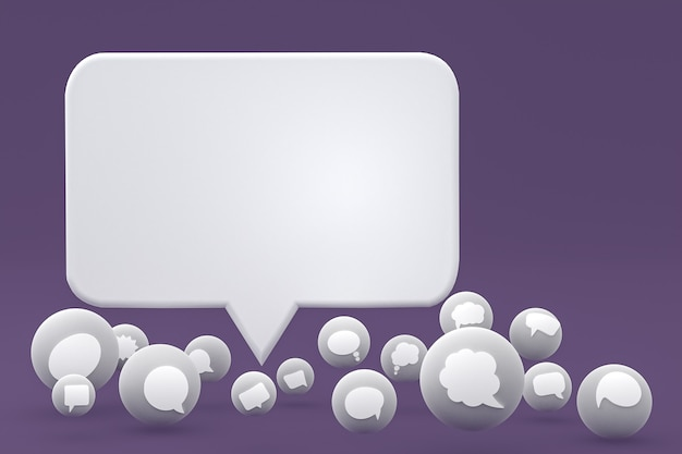 Tthink reacties en tekstballon emoji's 3d render