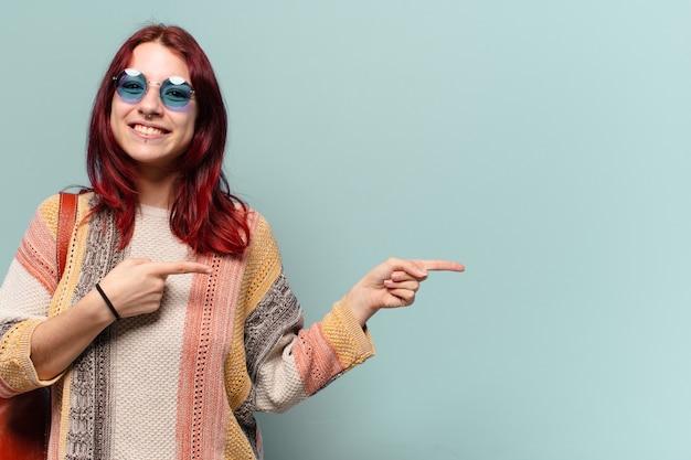 Tty hippie student vrouw met een kopie ruimte