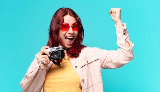 Tty reiziger vrouw. toerisme concept