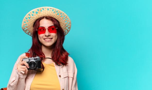 Tty reiziger vrouw. toeristisch concept