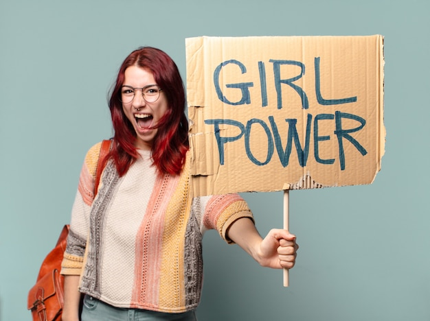 Tty student vrouw activist. meisje machtsconcept