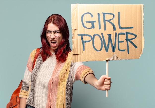 Tty student vrouwelijke activist. girl power concept