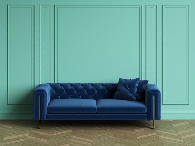 Tufted blauwe bank in klassiek interieur met kopie ruimte. turquoise kleur muren met lijstwerk. visgraat op de vloer. 3d-rendering