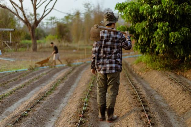 Tuinconcept een mannelijke boer die een schoffel op zijn schouder draagt en een tuin verlaat nadat hij klaar is met het verbouwen van de gewassen.