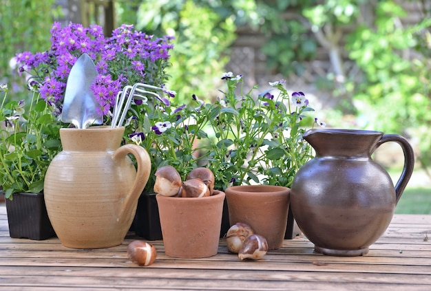 Tuingereedschap in een waterkan die met anderen op een tafel met bloemen en bollen in een tuin wordt geplaatst