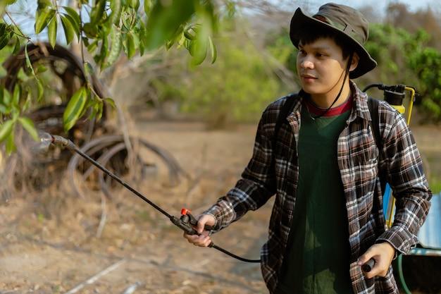 Tuinieren concept een mannelijke tuinman die insecten van de hand doet door een organisch insecticide op de hele bomen te spuiten.