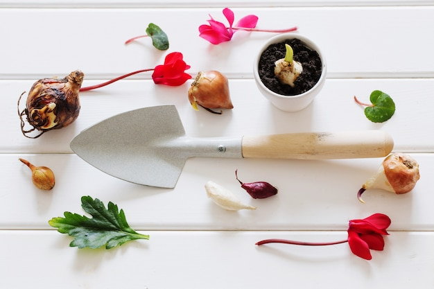 Tuinieren lepel met bloemen plant op houten tafel