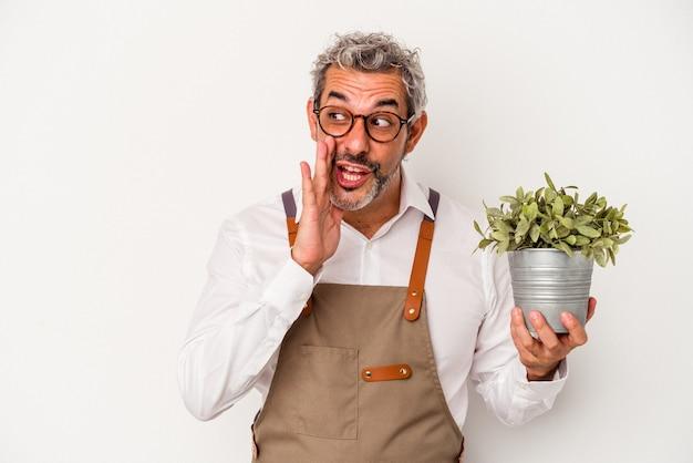 Tuinman van middelbare leeftijd, blanke man met een plant geïsoleerd op een witte achtergrond, zegt een geheim heet remnieuws en kijkt opzij