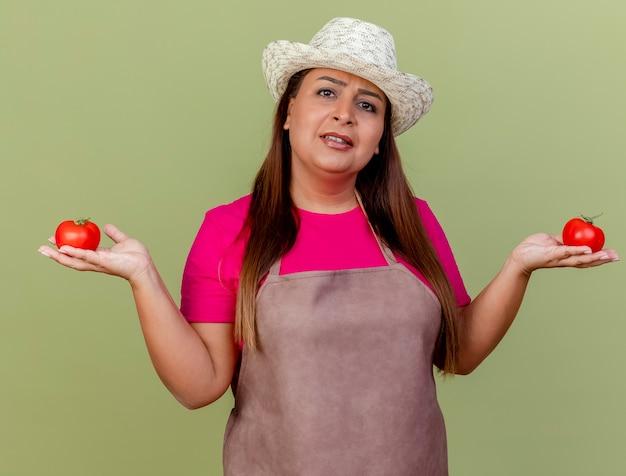 Tuinman van middelbare leeftijd die in schort en hoed verse tomaten houdt
