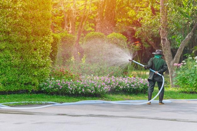 Tuinman werknemer spuiten drenken boom en planten in het park elke ochtend