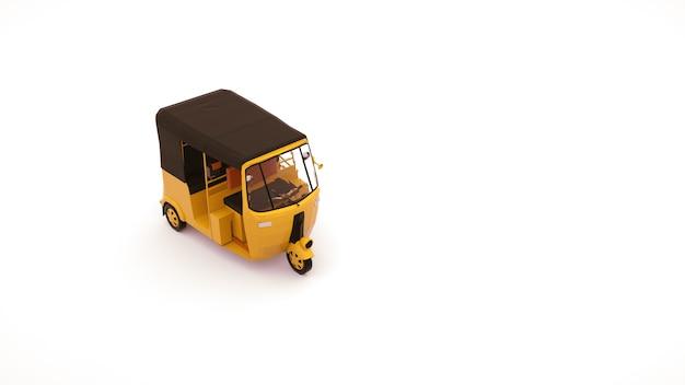Tuk tuk autovervoer. 3d-afbeelding