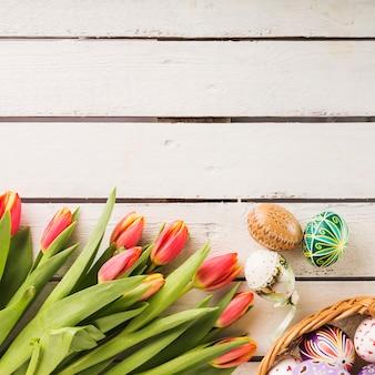 Tulpen dichtbij mooie eieren
