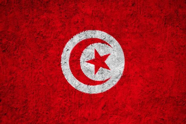 Tunesië vlag geschilderd op grunge muur