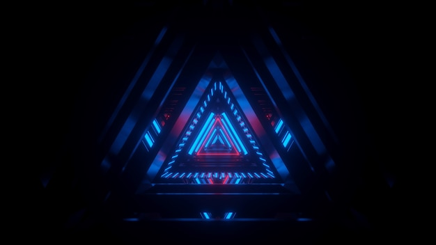 Tunnel in blauwe neon licht scifi abstractie calidor tech achtergrond 3d-rendering