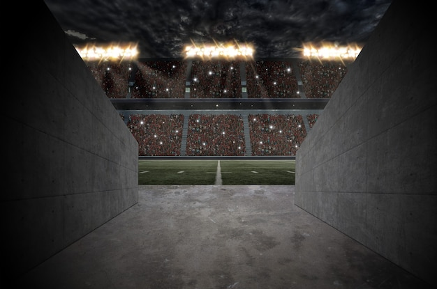 Tunnel naar een voetbalstadion.
