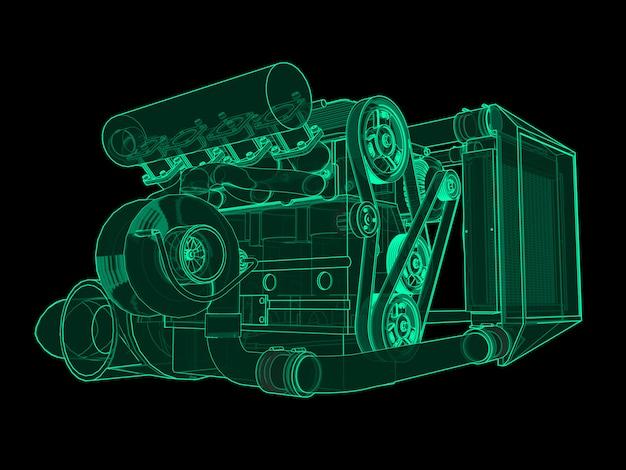 Turbocompressor viercilinder, krachtige motor voor sportwagen groene neon glow op zwart
