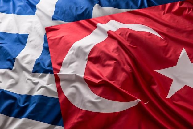 Turkea een griekse vlag samen - studioschot.
