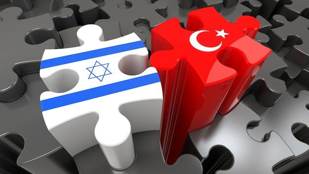 Turkije en israël vlaggen op puzzelstukjes. politiek relatieconcept. 3d-rendering