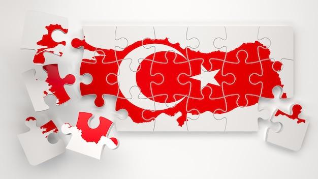 Turkije hap met vlag als puzzel - 3d-rendering