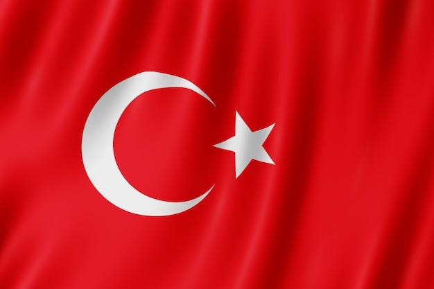 Turkije vlag zwaaien in de wind.