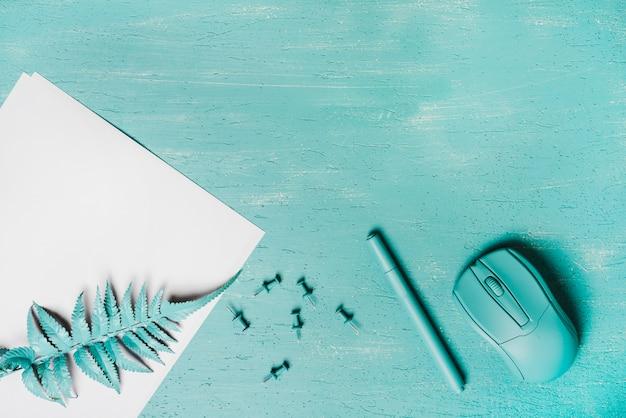 Turkoois gekleurde pen; muis; varen bladeren en push pins op houten oppervlak