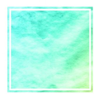 Turkoois hand getrokken van het waterverf rechthoekige kader textuur als achtergrond met vlekken